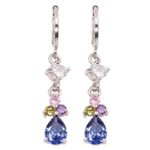 🎀925 Five Gemstone Water Drop Earrings